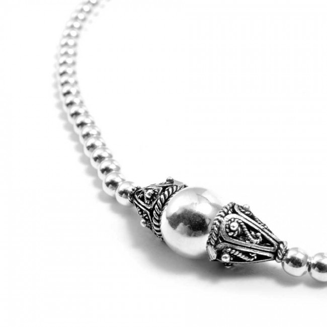 Collier perles d'argent simple - BOLAS ARGENT - Boutique Nirvana