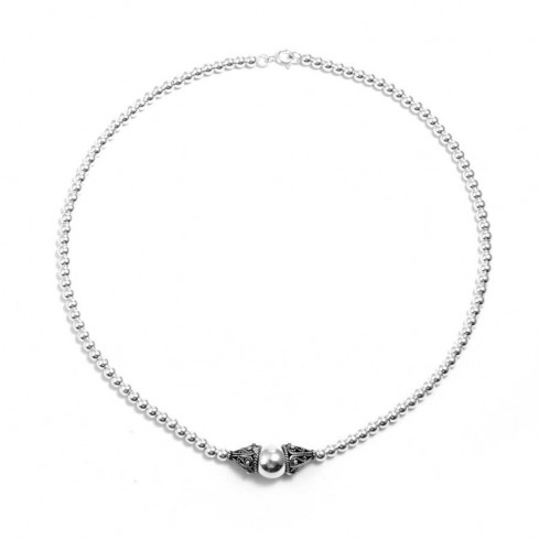 Collier perles d'argent simple - BIJOUX ARGENT - Boutique Nirvana
