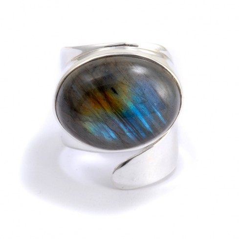 Bague réglable grosse labradorite ovale - PIERRES FINES - Boutique Nirvana