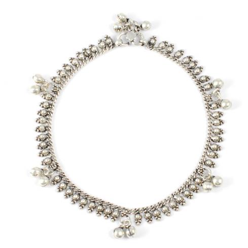 Chaine chevilles argent Jaipur avec motifs et grelots - CHAINES CHEVILLES ARGENT - Boutique Nirvana