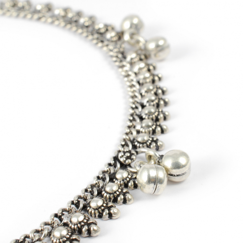 Indian Silver Ankle Chain with Bells - Silver Ankle Chain - Boutique Nirvana