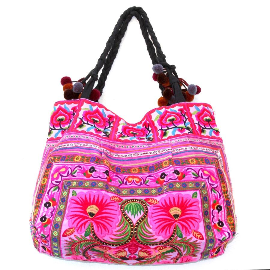 Grand sac ethnique brodé rose - BAGS -