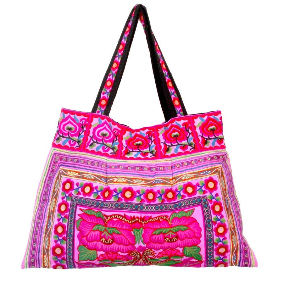 Grand sac ethnique rose India - BAGS - Boutique Nirvana