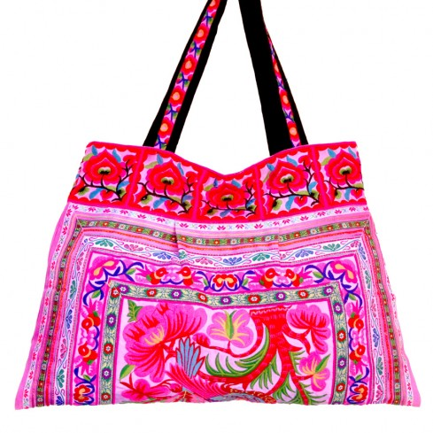 Grand sac ethnique rose India - BAGS - Boutique Nirvana