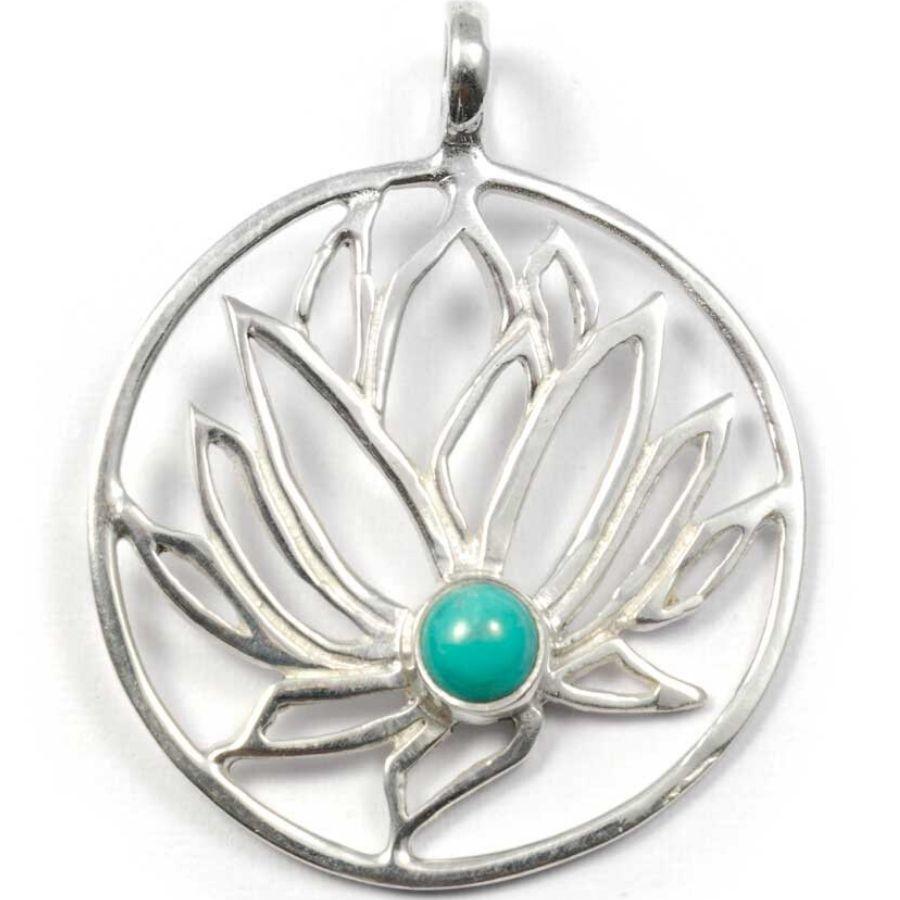 Grand pendentif Lotus argent incrusté pierre - SILVER PENDANT - Boutique Nirvana