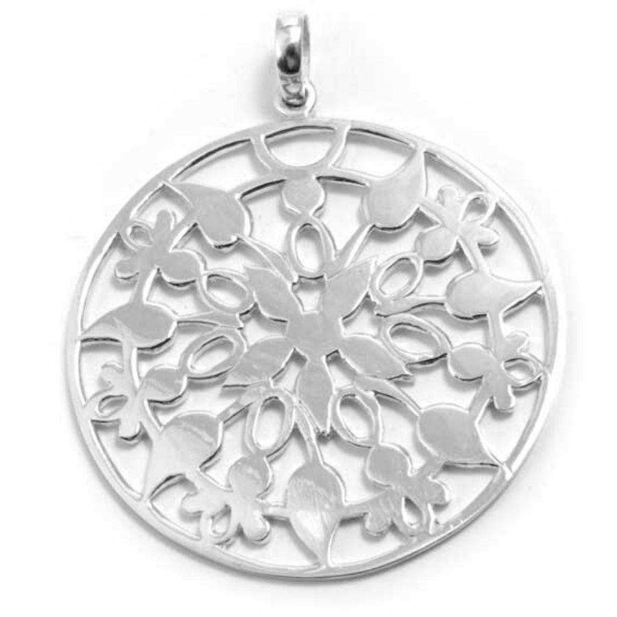 Indonesian Circular Silver Pendant - SILVER - Boutique Nirvana