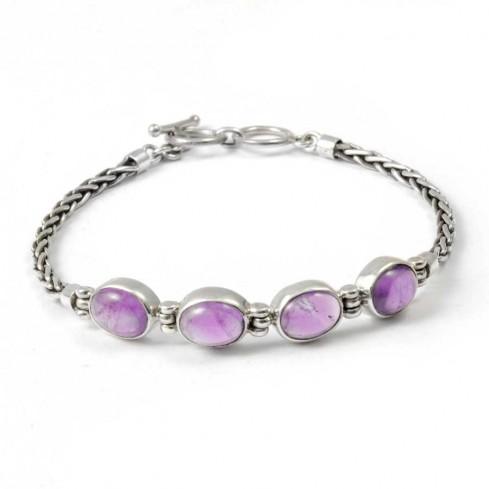 Braided Silver & Natural Stone Chain Bracelet - PIERRES FINES+ - Boutique Nirvana
