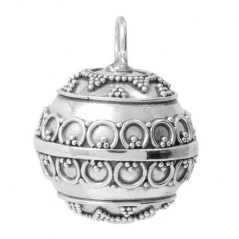 Dhanya Ethnic Silver Bola Pendant - HARMONY BALL - Boutique Nirvana