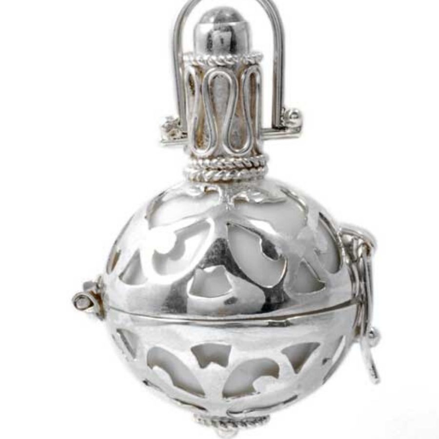 Silver Bola Cage with Coloured Ball - HARMONY BALL - Boutique Nirvana