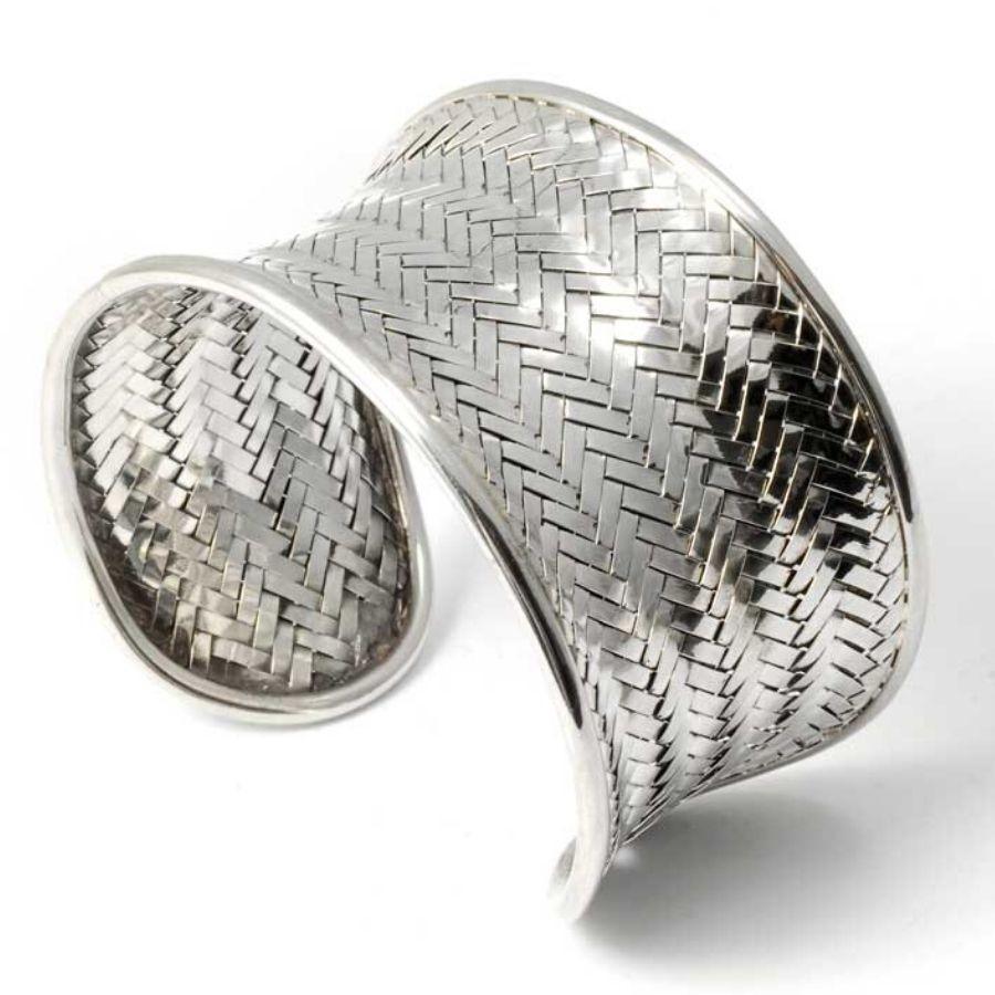 Bohemian Woven Silver Cuff Bracelet - ARGENT+ - Boutique Nirvana