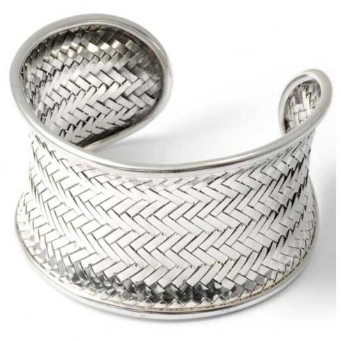 Bracelet argent manchette tressé - Argent - Boutique Nirvana