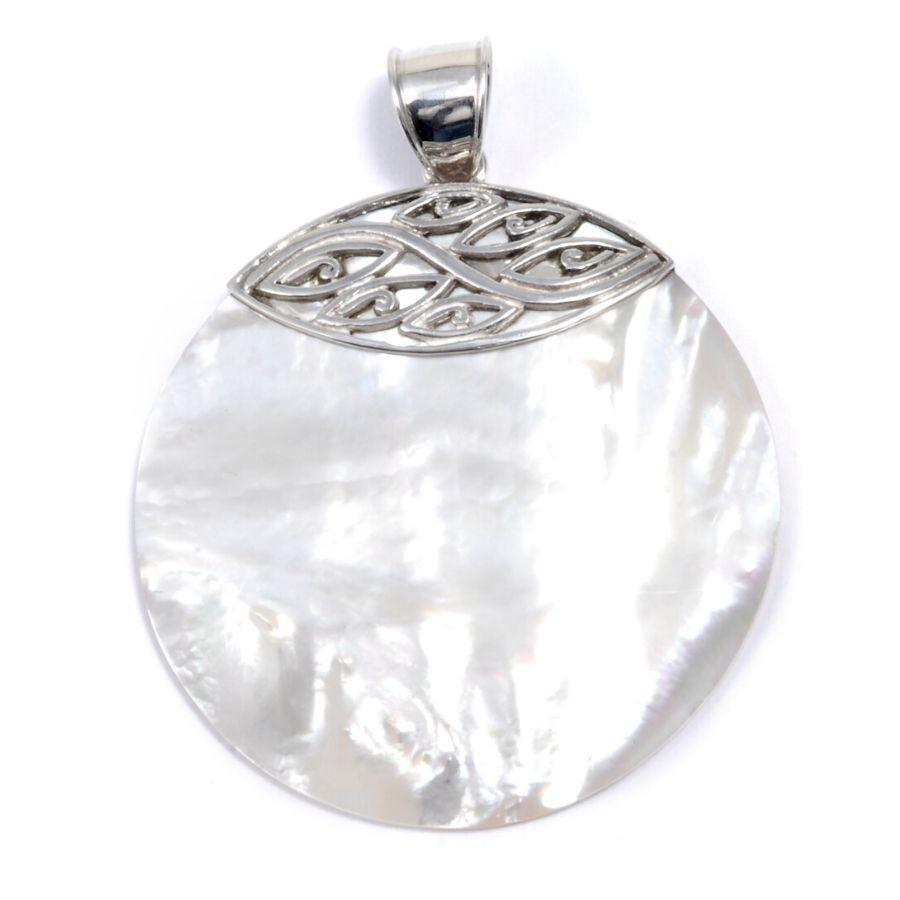 Grand médaillon pierre et argent - SILVER - Boutique Nirvana