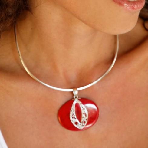 Oval Sterling Silver Gemstone Pendant - Silver Jewellery  - Boutique Nirvana