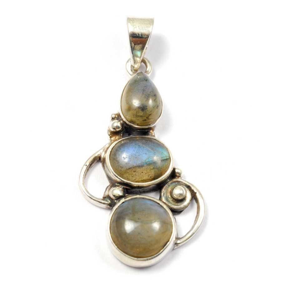 Silver Three-Stone Pendant - PIERRES FINES - Boutique Nirvana