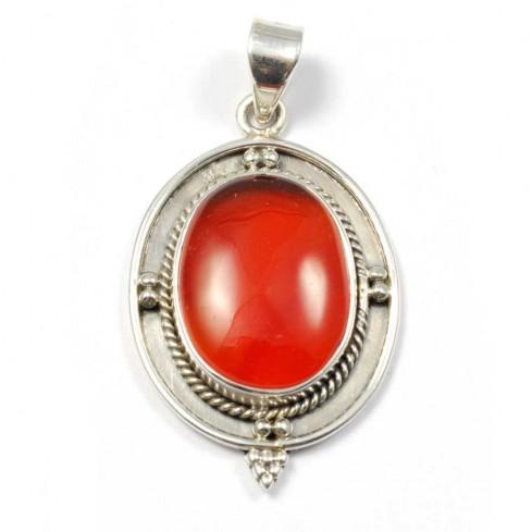 Silver Cabochon Stone Pendant - Mineral Gemstones - Boutique Nirvana