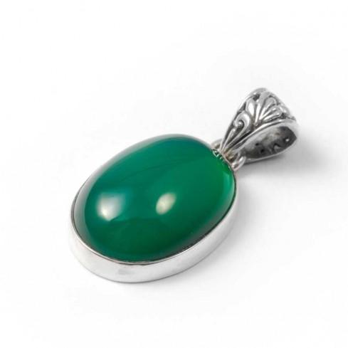 Pendentif orné d'une pierre avec bélière ouvragée - BIJOUX ARGENT - Boutique Nirvana
