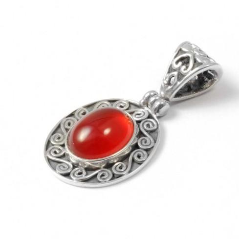 Silver Spiral Gemstone Pendant - Silver Jewellery  - Boutique Nirvana