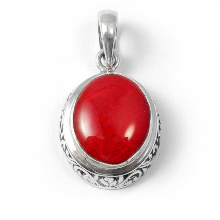 Embossed Gemstone Pendant - Silver Jewellery  - Boutique Nirvana