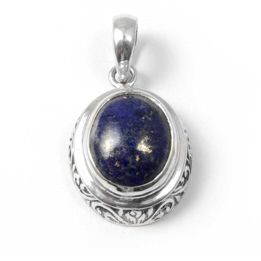 Embossed Gemstone Pendant - Silver Jewellery  - Boutique Nirvana