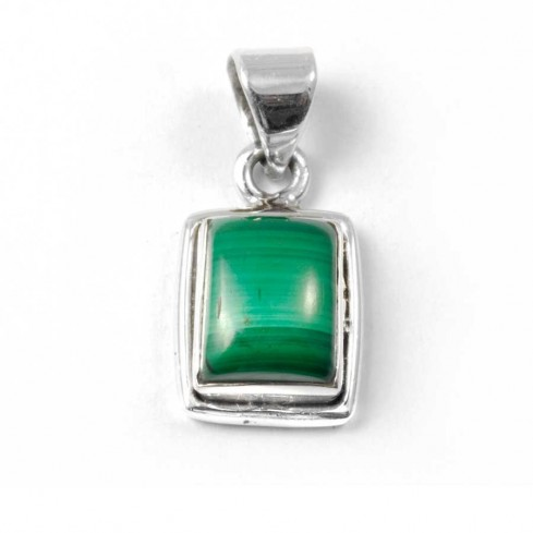 Small Silver Pendant with Rectangular Stone - Mineral Gemstones - Boutique Nirvana