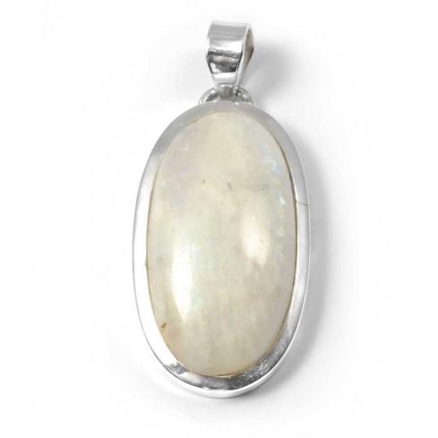 Grand pendentif épais et pierre ovale - BIJOUX ARGENT - Boutique Nirvana