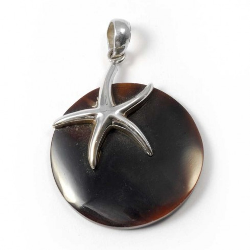 Pendentif rond avec une étoile de mer en Argent - BIJOUX ARGENT - Boutique Nirvana