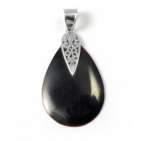 Natural Stone Teardrop Pendant - Silver Jewellery  - Boutique Nirvana