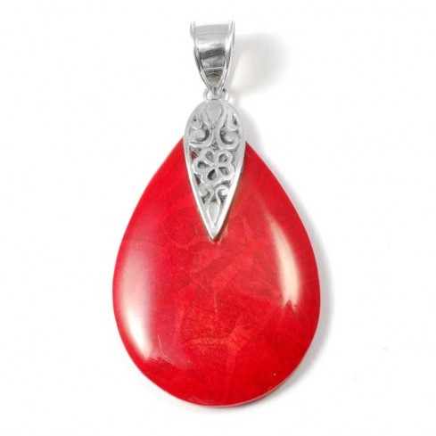 Natural Stone Teardrop Pendant - Silver Jewellery  - Boutique Nirvana