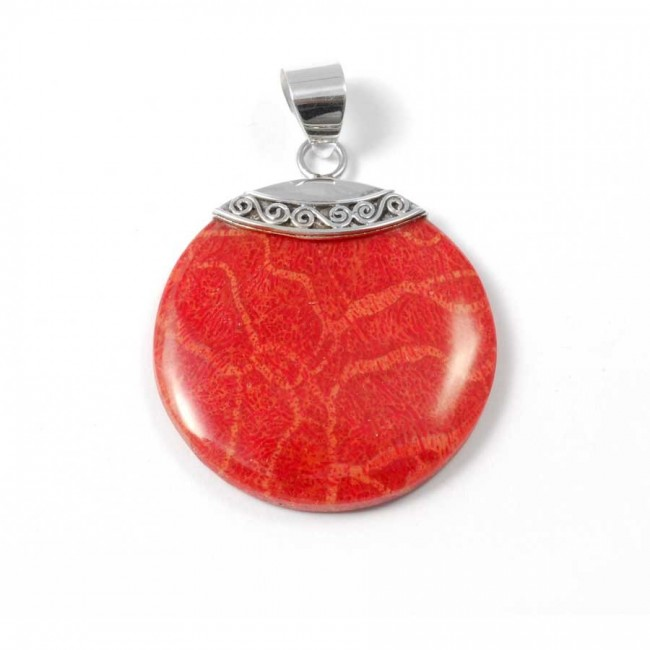 Elegant Round Natural Stone Pendant - Silver Jewellery  - Boutique Nirvana