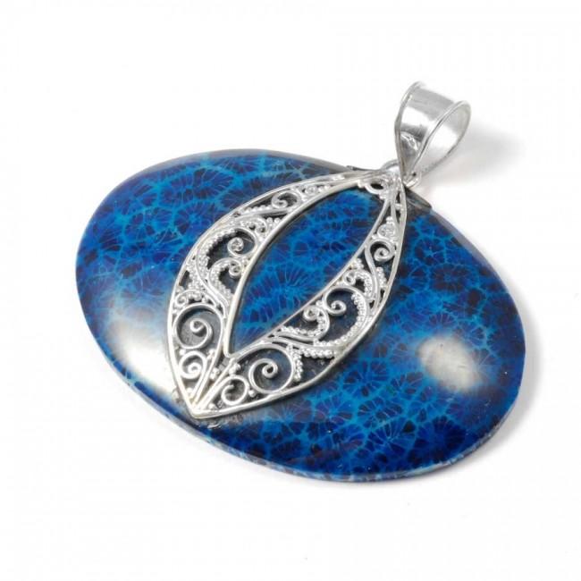 Pendentif ovale filigrane et pierre Argent - BIJOUX ARGENT - Boutique Nirvana