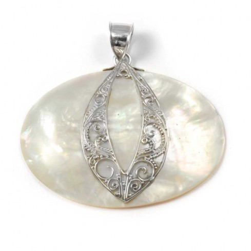Oval Sterling Silver Gemstone Pendant - Silver Jewellery  - Boutique Nirvana