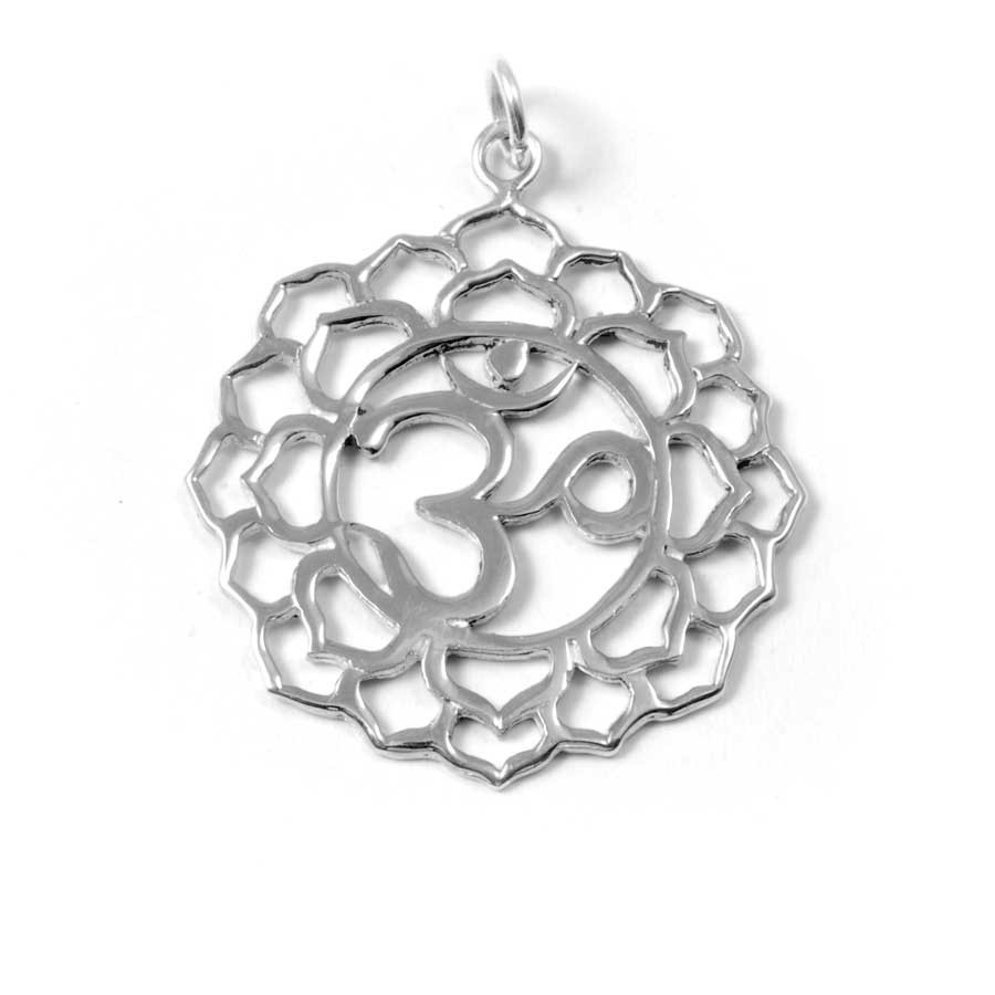 Carved Om Symbol Pendant - Silver Jewellery  - Boutique Nirvana