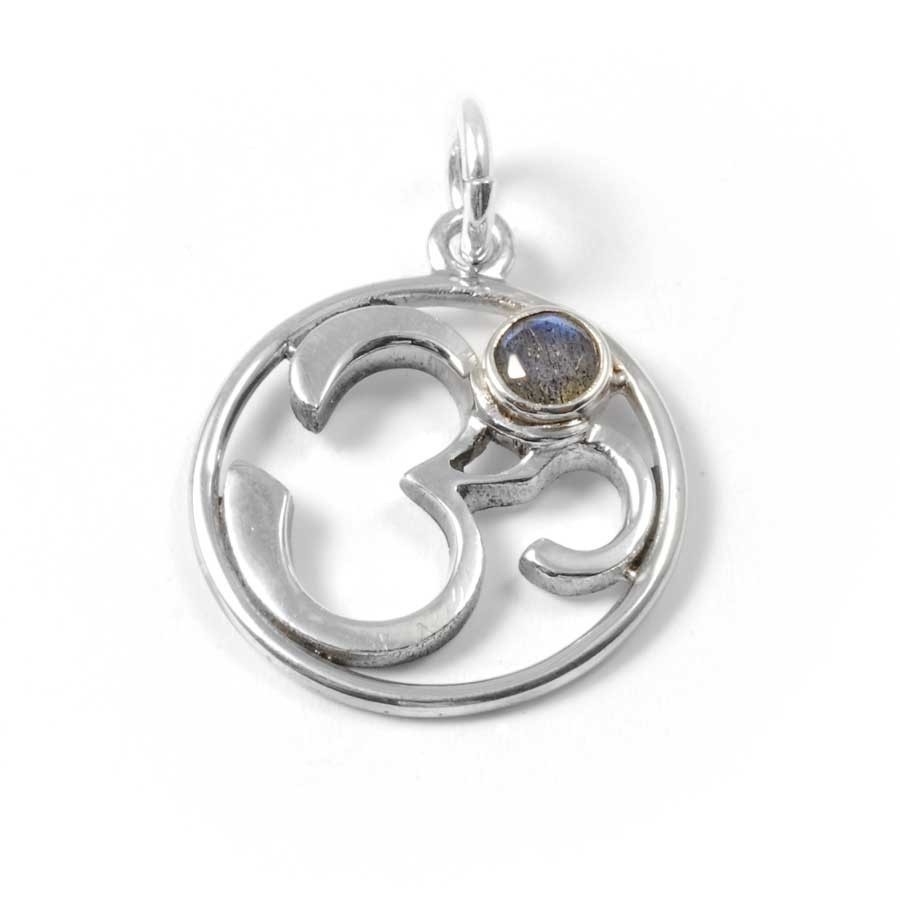 Om Pendant with Natural Stone - Silver Jewellery  - Boutique Nirvana
