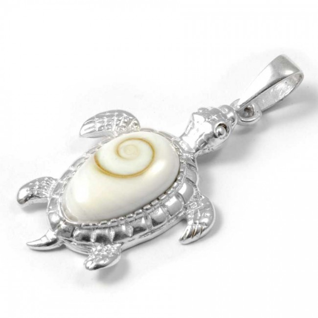 Silver Turtle Pendant with Eye of St Lucia - Silver Jewellery  - Boutique Nirvana