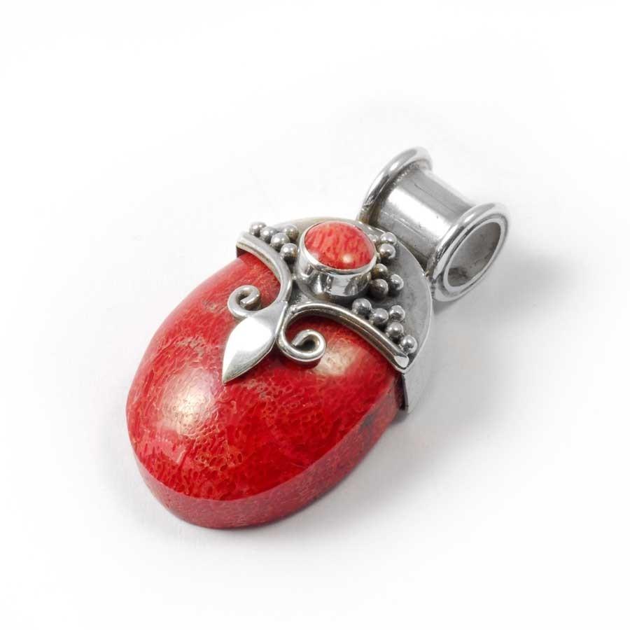 Pendentif épais en Argent et Corail - Silver Jewellery  - Boutique Nirvana