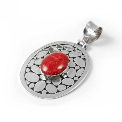 Pendentif en Argent à Contour Large et Pierre - Silver Jewellery  - Boutique Nirvana