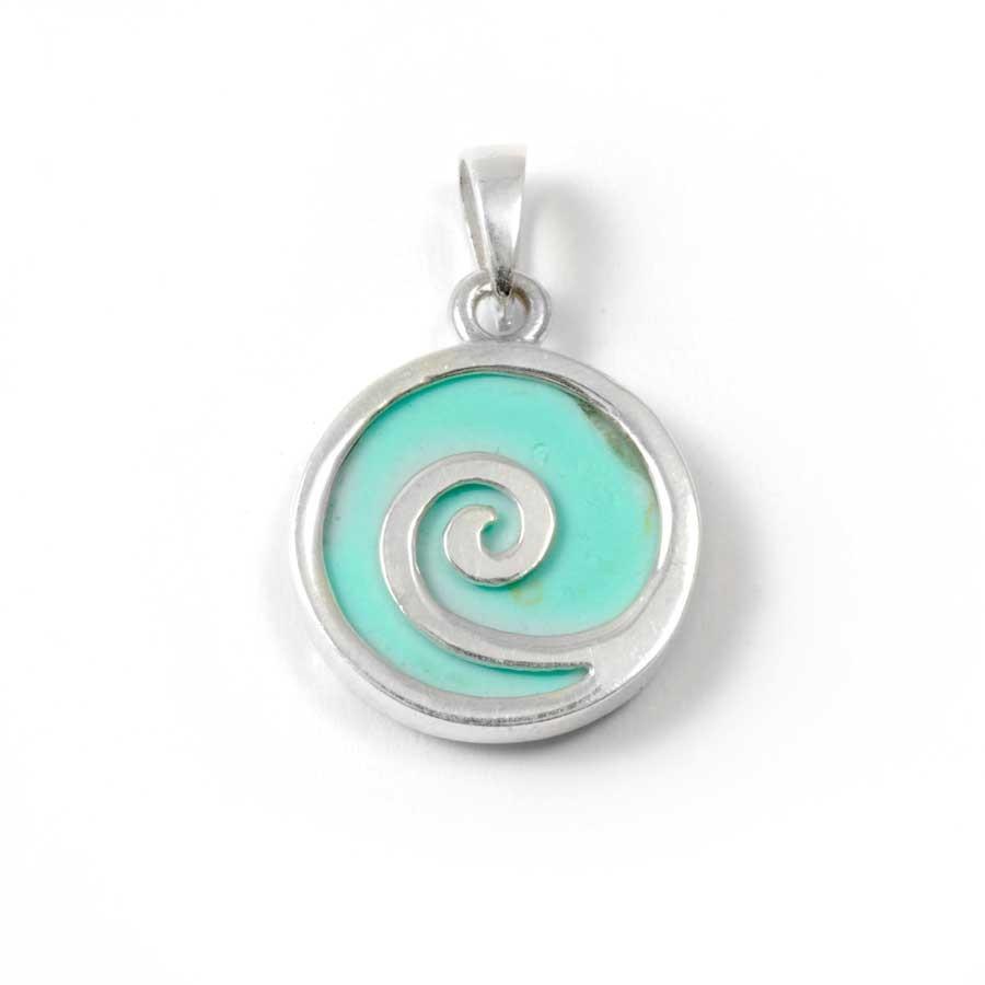 Pendentif spirale en argent et pierre - Corail, nacre etc. - Boutique Nirvana