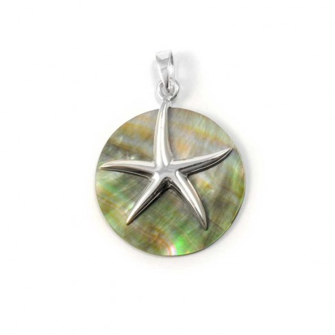 Beautiful Circular Natural Stone with Silver Starfish - Silver Jewellery  - Boutique Nirvana