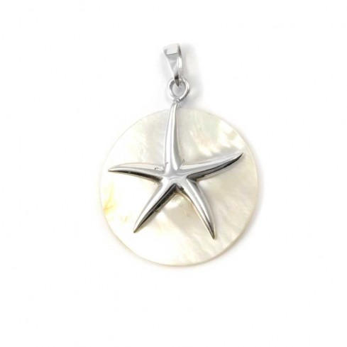 Beautiful Circular Natural Stone with Silver Starfish - SAINTE LUCIE - Boutique Nirvana