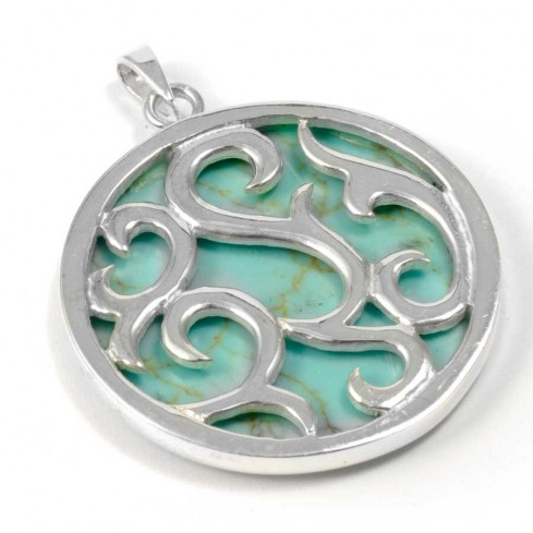 Ornate Silver and Natural Stone Pendant - BOUCLES ARGENT CORAIL & NACRE - Boutique Nirvana