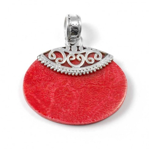 Pendentif et Argent et Corail Ouvragé - Silver Jewellery  - Boutique Nirvana