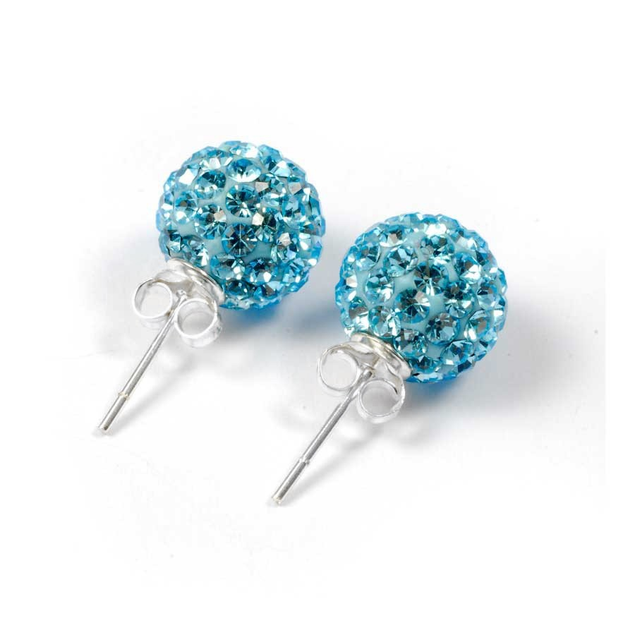Boucles argent strass turquoise