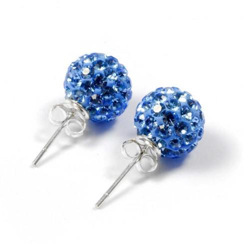 Boucles d'oreilles argent strass Bleu