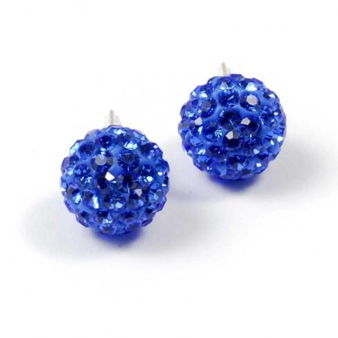Boucles d'oreilles argent strass Bleu Roi