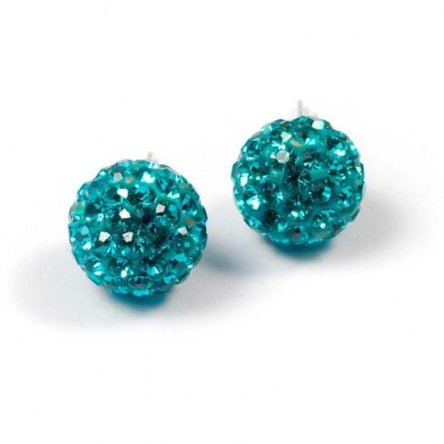 Boucles d'oreilles argent strass Vert Turquoise