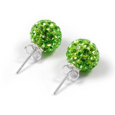 Boucles d'oreilles argent strass Vert Peridot
