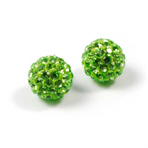 bijou  strass Vert Peridot argent