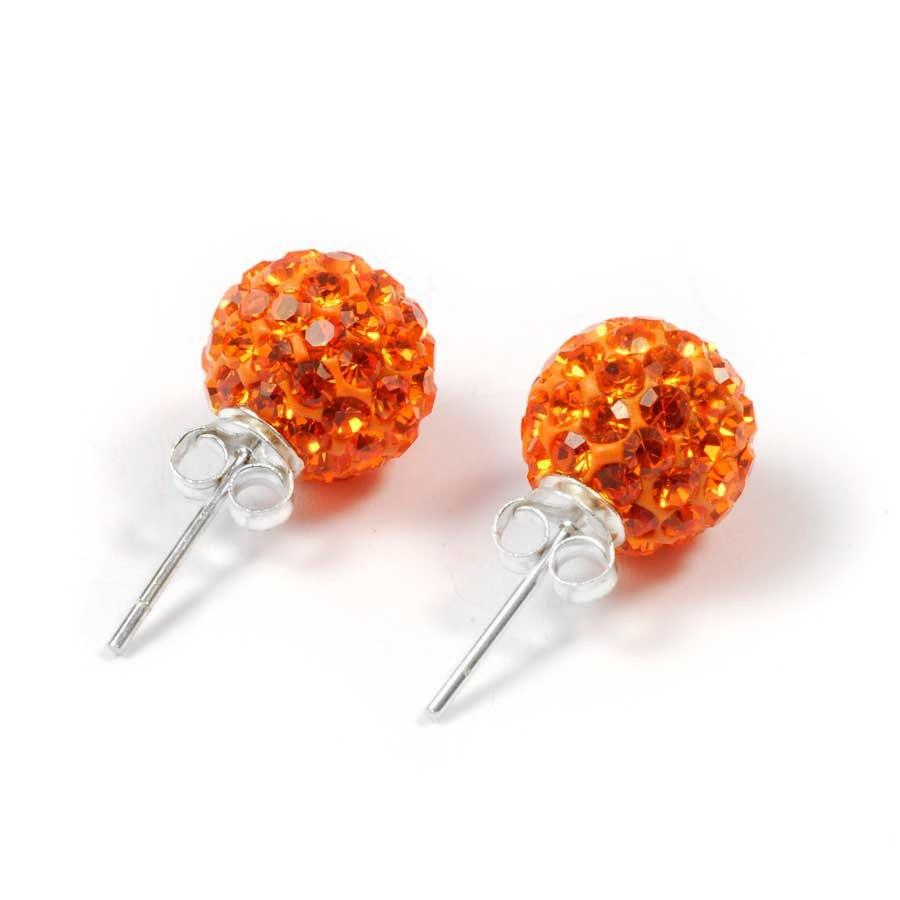 Boucles d'oreilles argent strass Orange