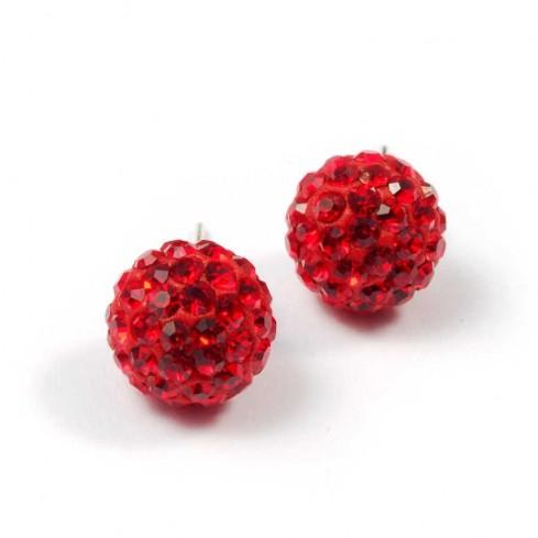 Boucles d'oreilles argent strass Rouge