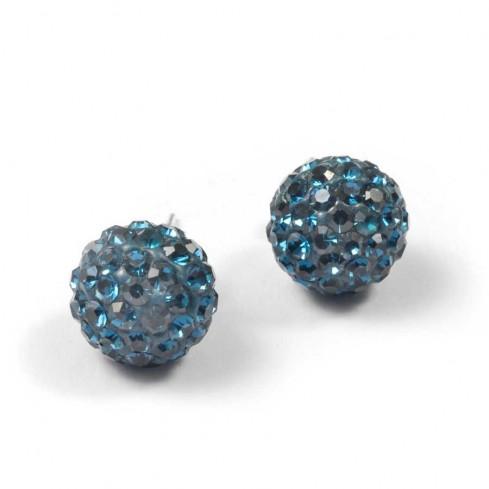 Boucles d'oreilles argent strass Bleu Montana